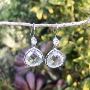 Anthropologie Silver faceted drop EARRINGS quartz
